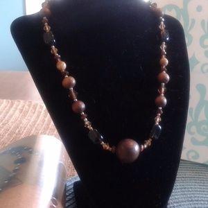 Wood, Smokey Quartz, Jasper, Crystal Necklace NWOT